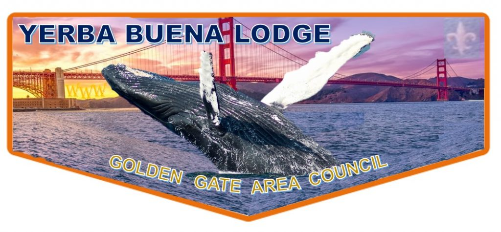 Pocket flap patch showing the Golden Gate bridge with a humpback whale breaching in the foreground.